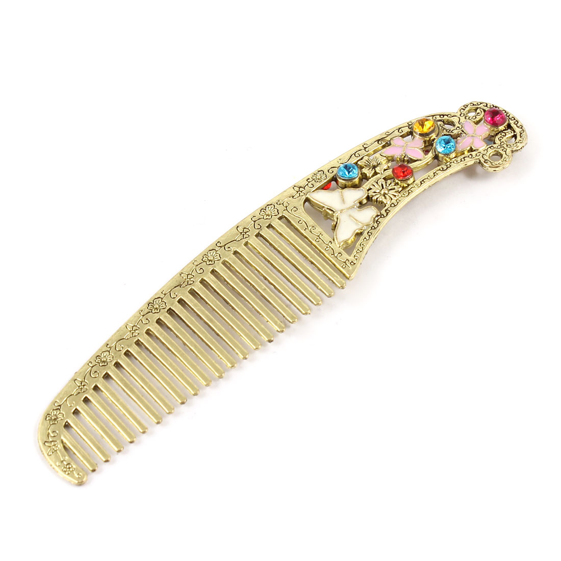 Rhinestone Butterfly Inlaid Flower Carved Bronze Tone Hair Comb