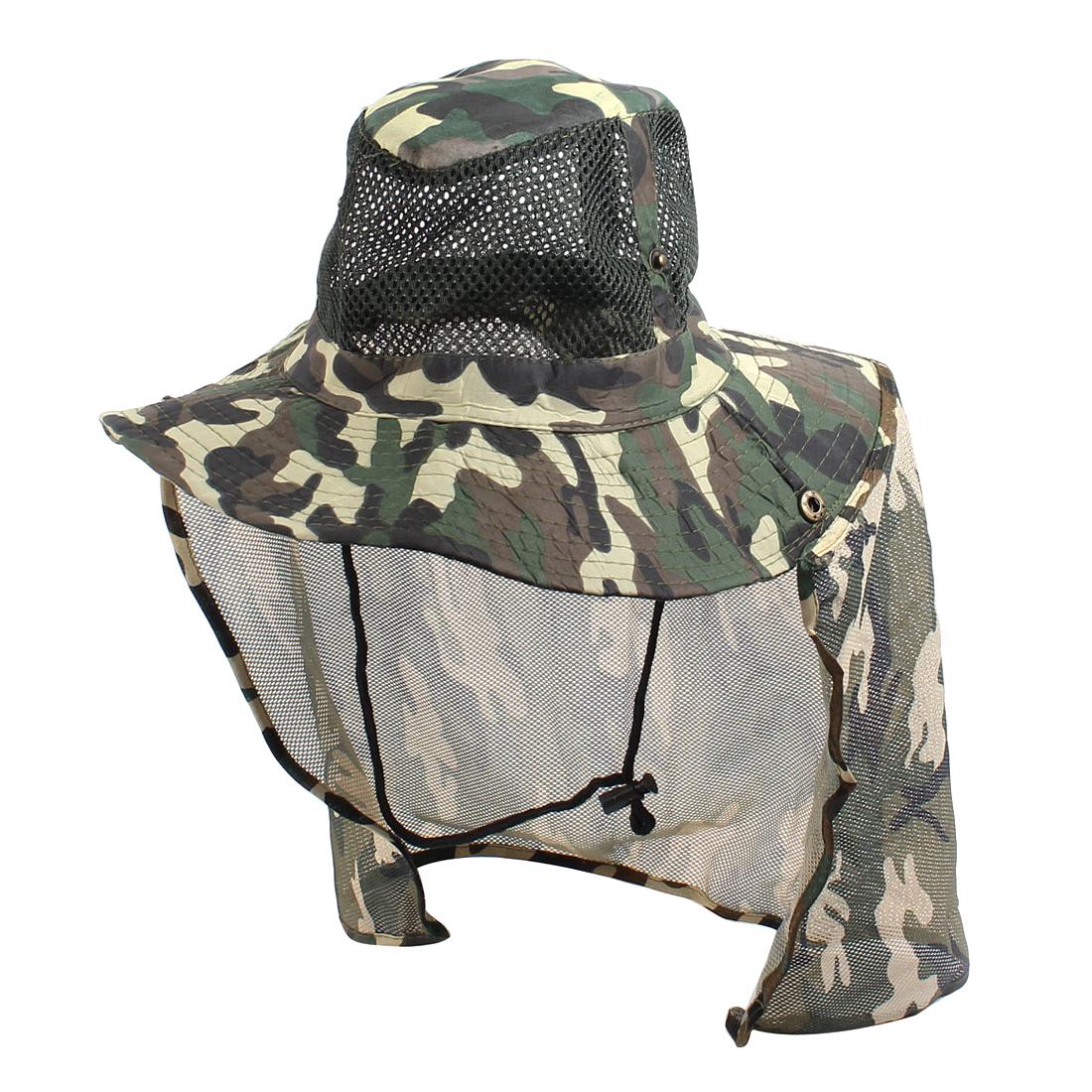 Man Mesh Design Top Camouflage Print Fishing Bucket Hat Cap