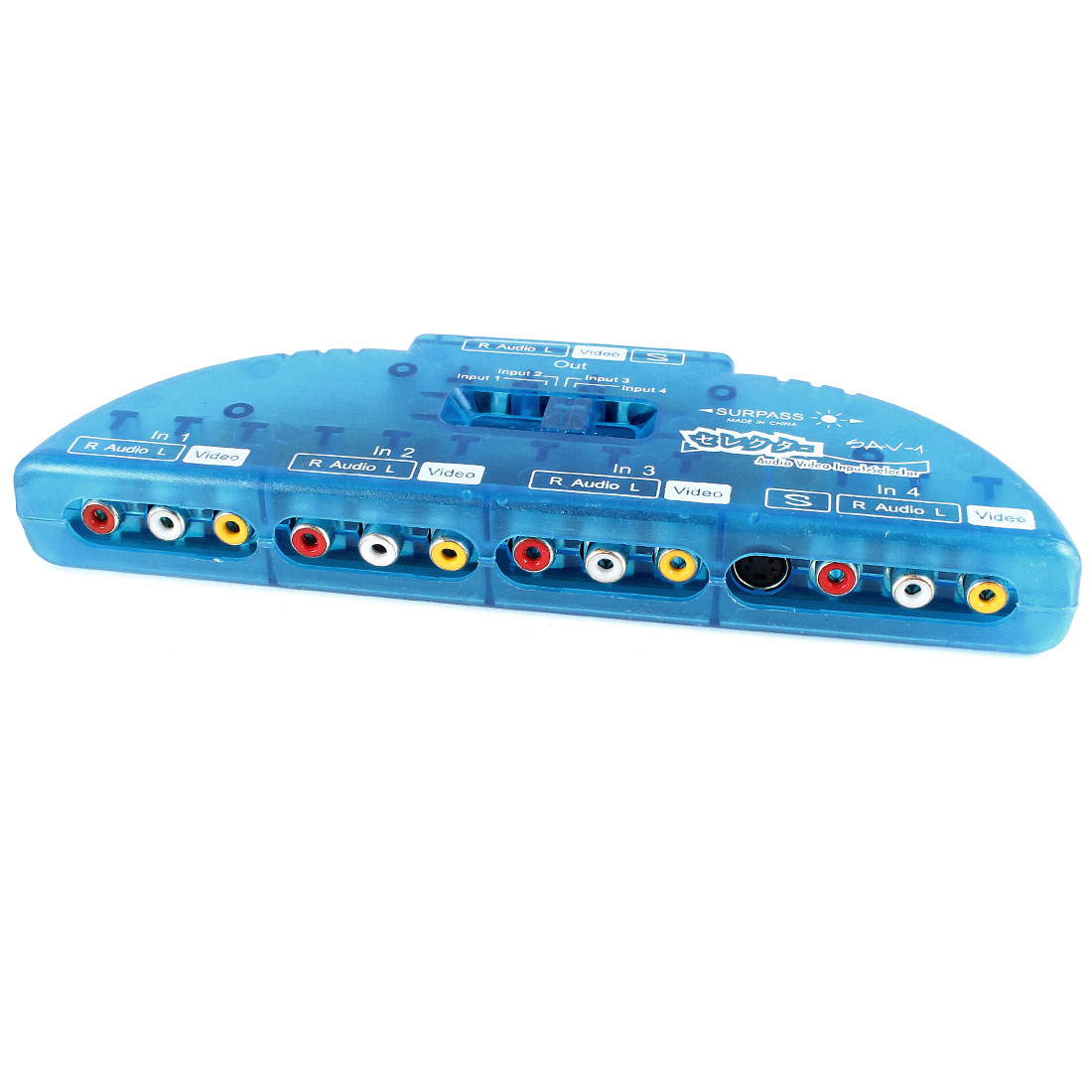 TV DVD 4 Input 1 Output Audio Video Switch Box Selector Clear Blue