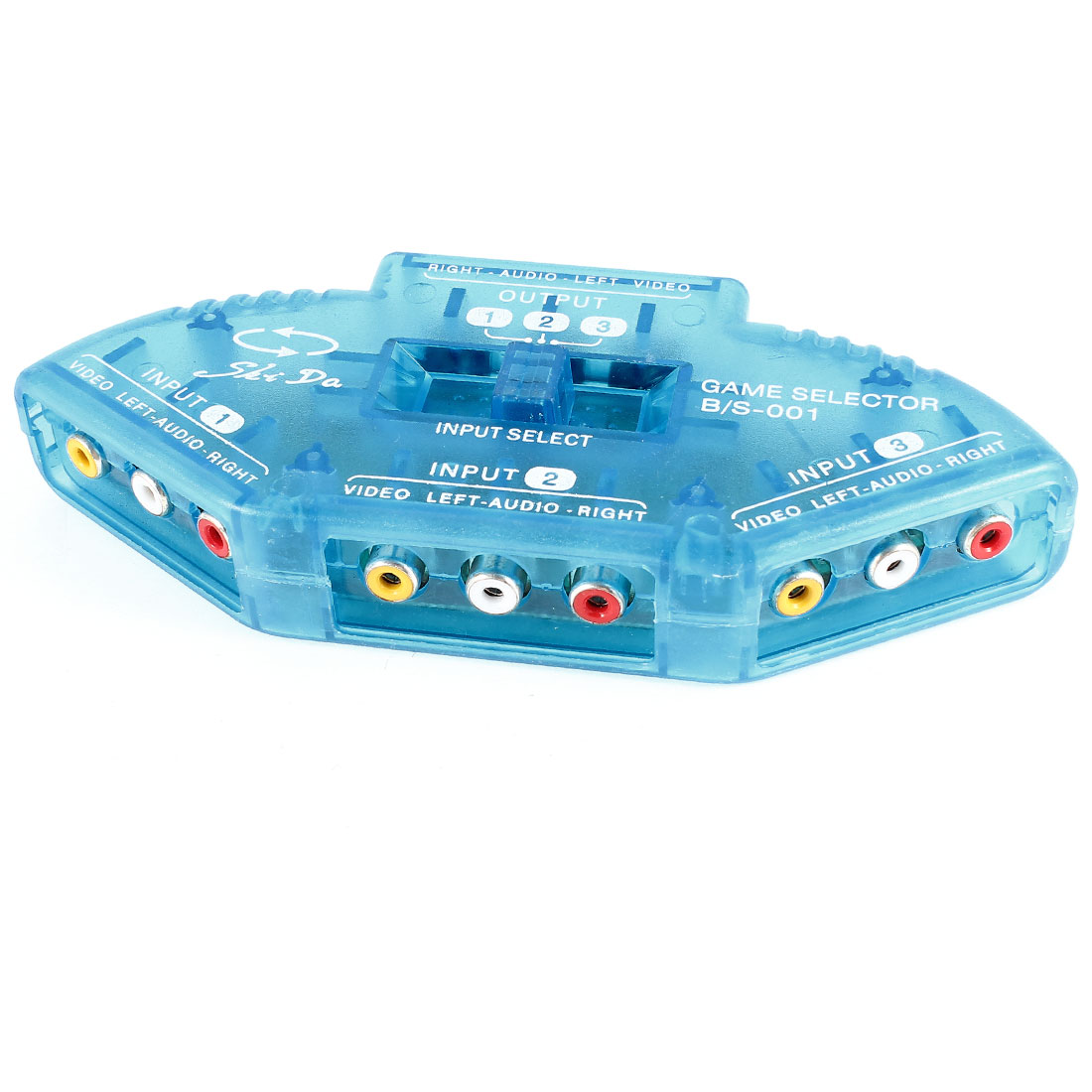 TV DVD 3 Input 1 Output Audio Video Switch Box Selector Clear Blue