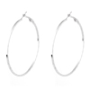Pair 2.4 Diameter Spiral Metal Hoop Earrings Earbob Silver Tone for Lady