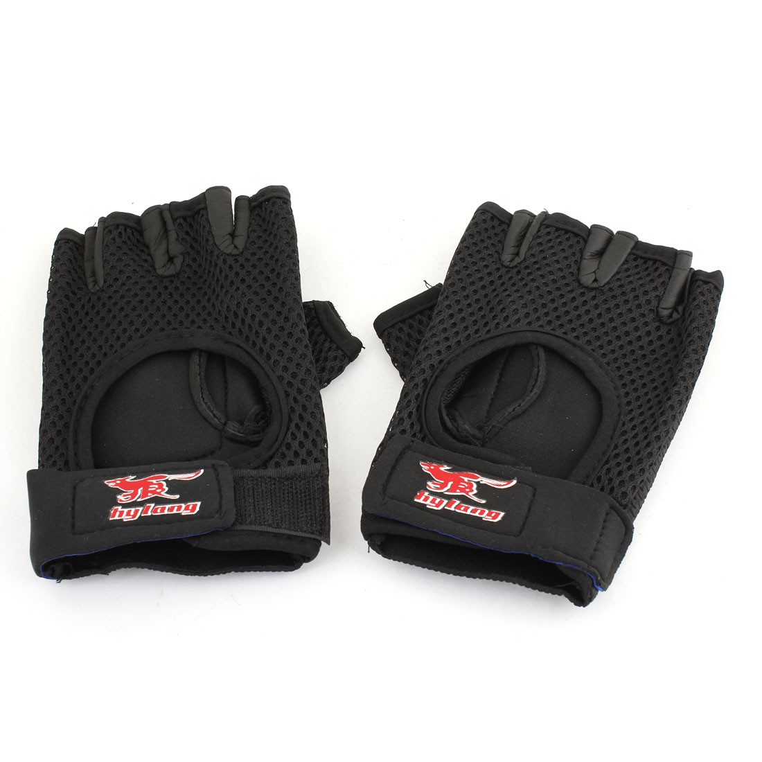 Hook Loop Fastener Black Red Neoprene Driving Sport Gloves for Unisex