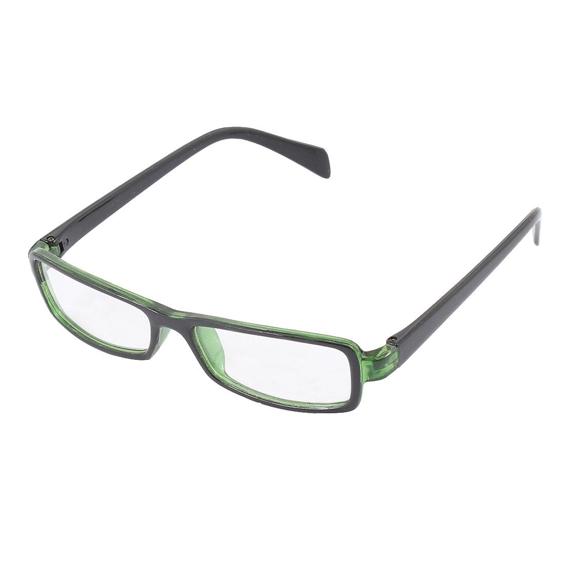 Plastic Full Rectangle Frame Lens Plain Eyeglasses Fashion Glasses Green Black
