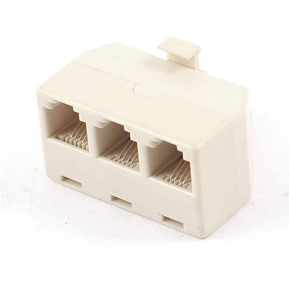 Telephone Plastic 6P4C RJ11 Socket to RJ11 Male Jack Adapter