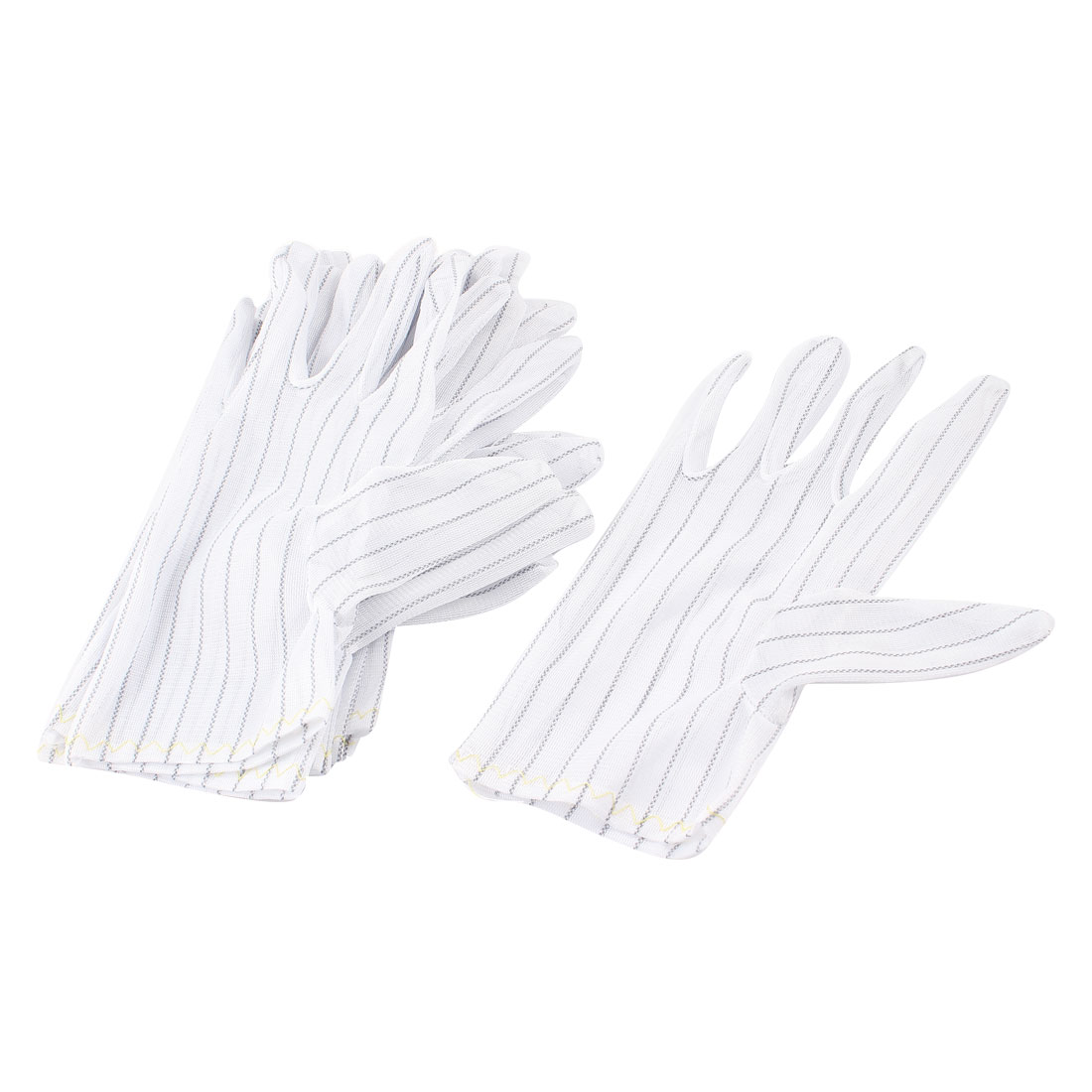 5 Pairs White Nylon Dotty Striped Palm Working Labor Anti-dust Gloves