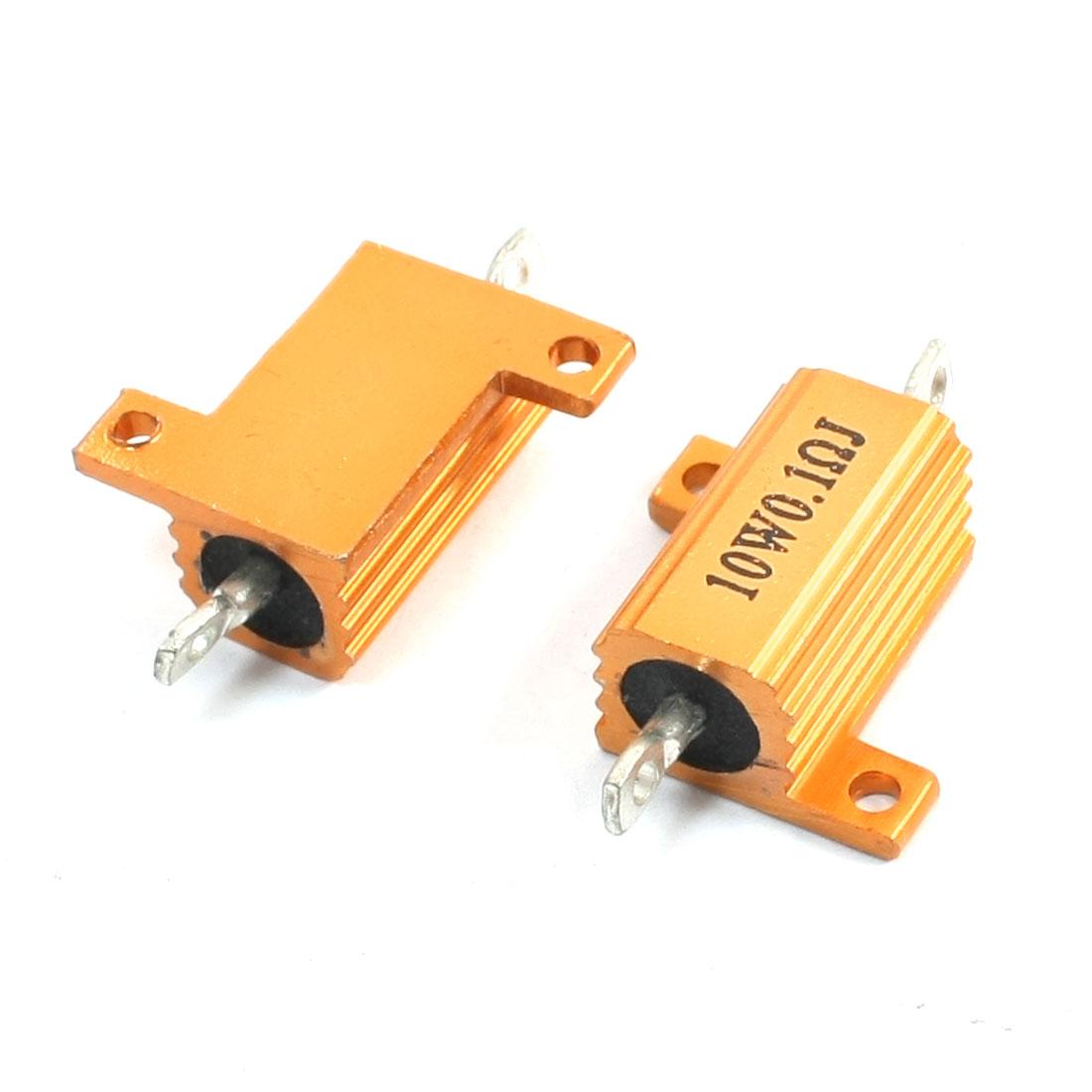 10W 0.1 Ohm Resistance Gold Tone Aluminum Clad Wirewound Resistor 2Pcs