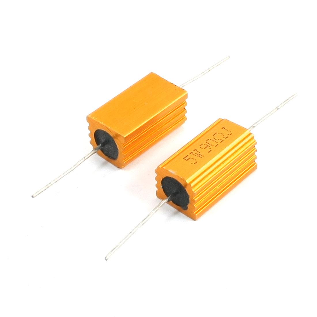 5W 90 Ohm Axial Heatsink Aluminum Clad Resistor Gold Tone 2Pcs