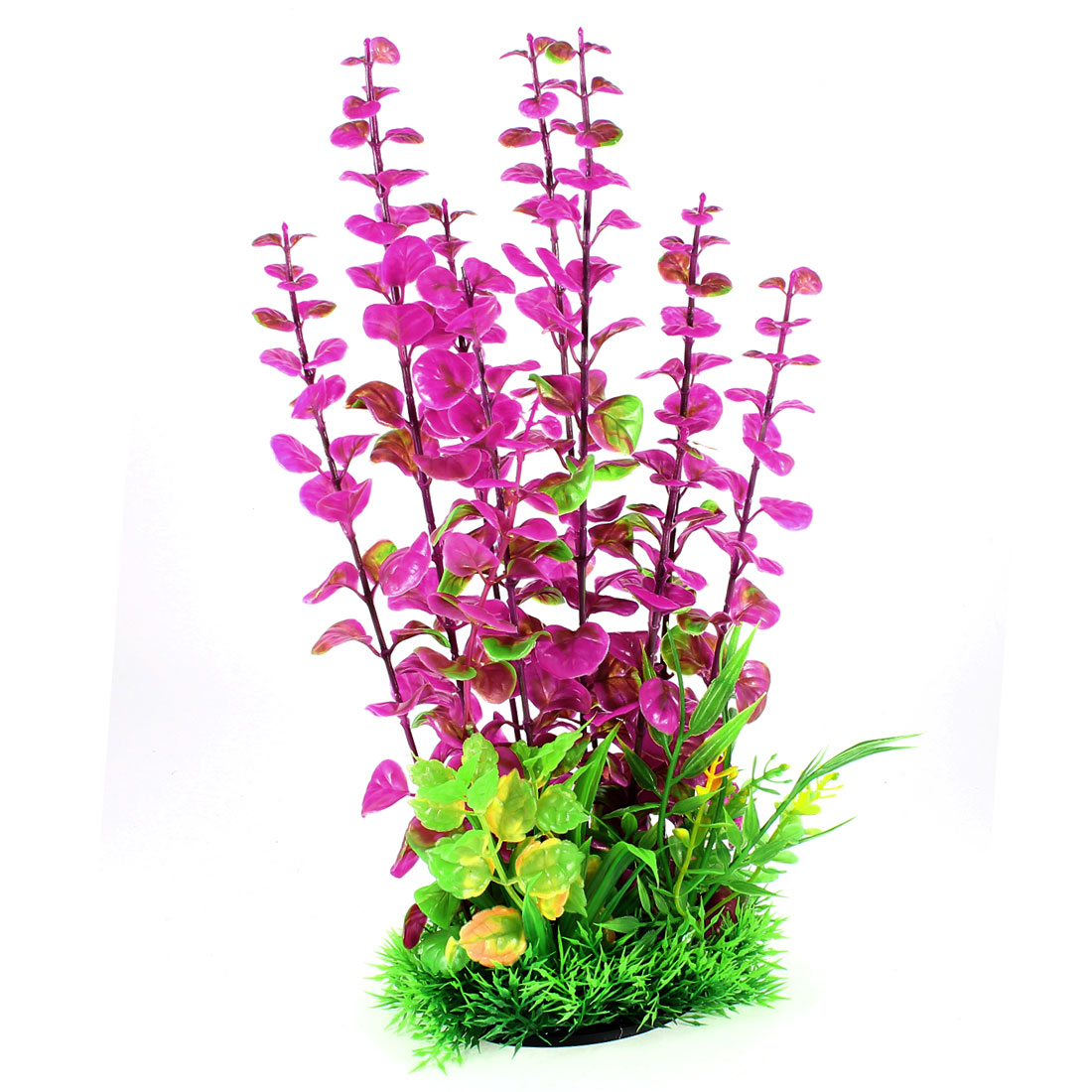 Manmade Vivid Green Fuchsia Plastic Underwater Grass Plant for Aquarium