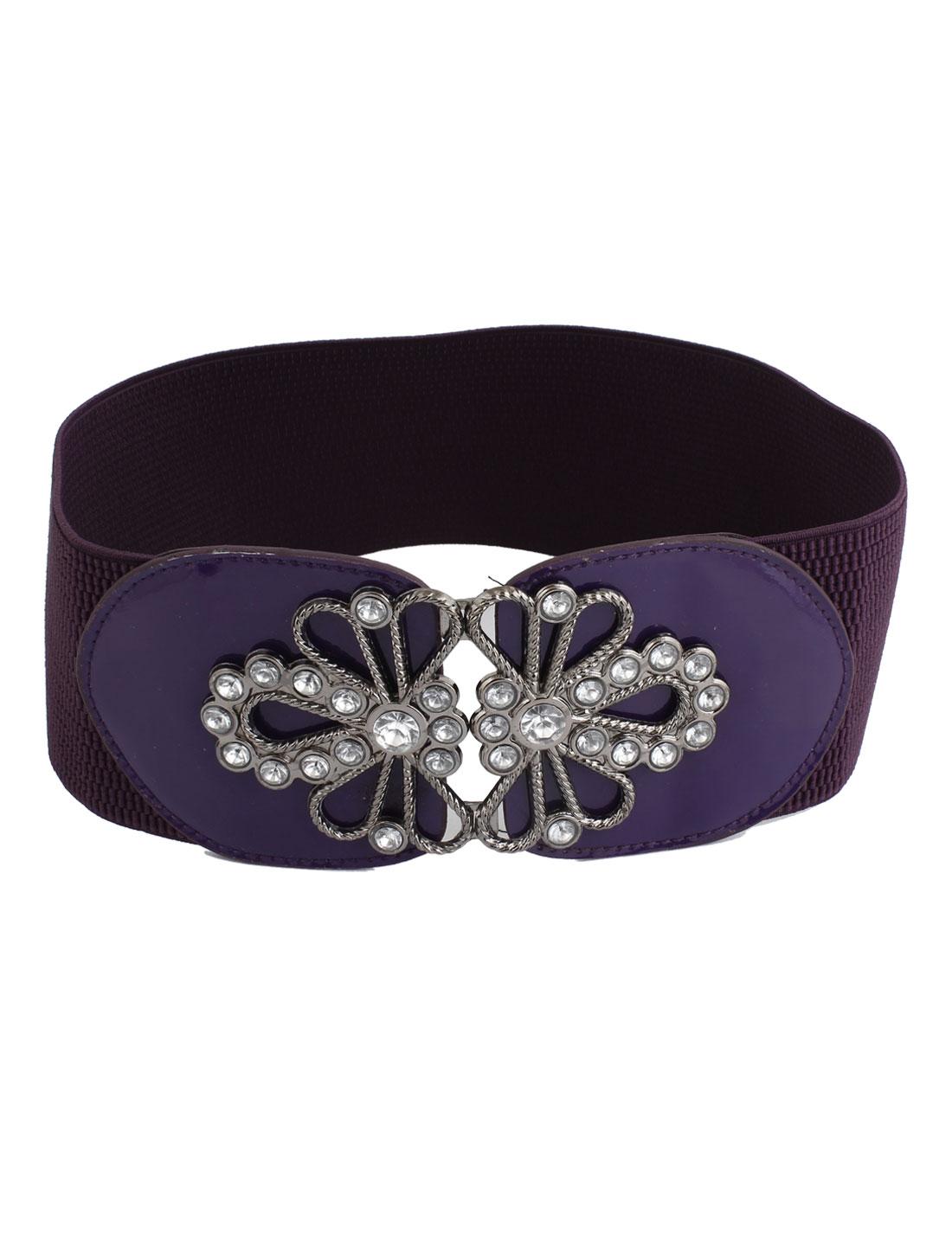 Women Faux Crystals Interlocking Buckle 7cm Wide Stretchy Waist Belt Band Purple