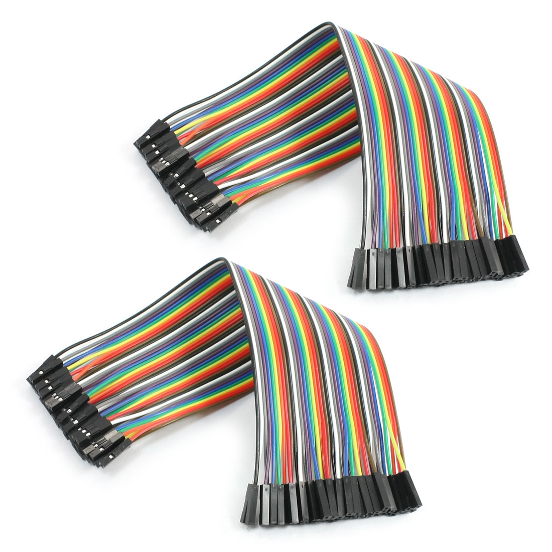 20cm 2.54mm 40 Pin Female to Female F/F Jumper Wire Cable Connector 2 Pcs