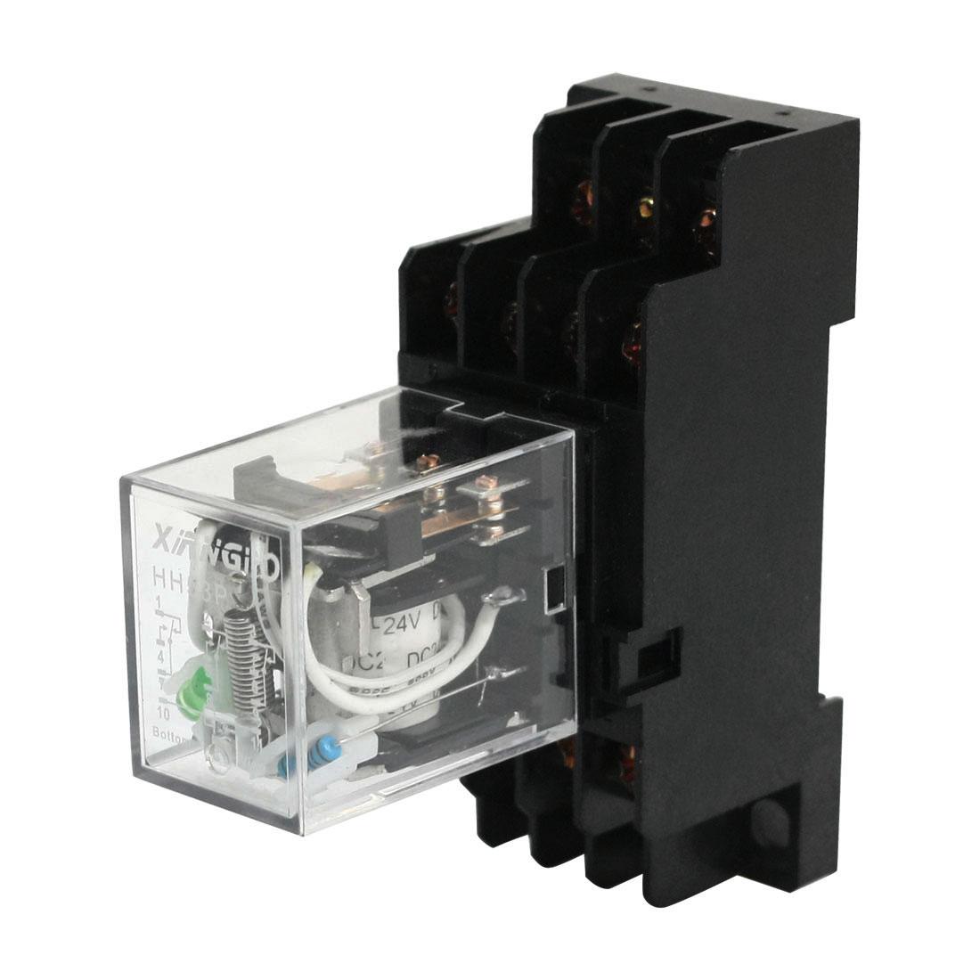 HH54P DC 24V Coil Volt Motor Control 4NO 4NC Power Relay w Base Socket