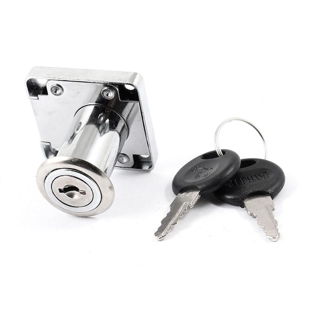 29mm Height Funiture Fitting Square Plate Drawer Glass Door Lock Silver Tone