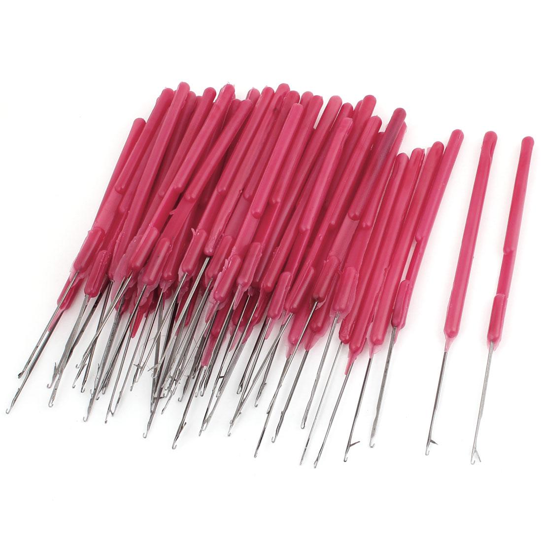 Plastic Silver Tone Red Handgrip Crochet Hook Needles 50 Pcs