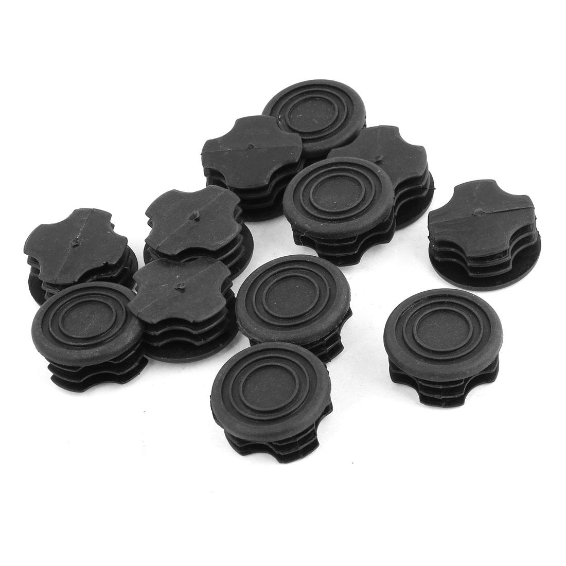 12 Pcs Black Plastic 32mm Dia Round Tubing Tube Insert Caps Covers