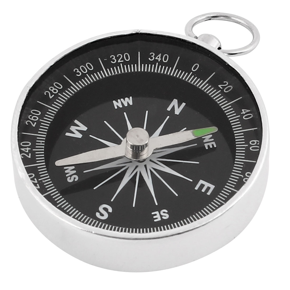 Portable Silver Tone Plastic Casing Black Dial Hiking Camping Compass