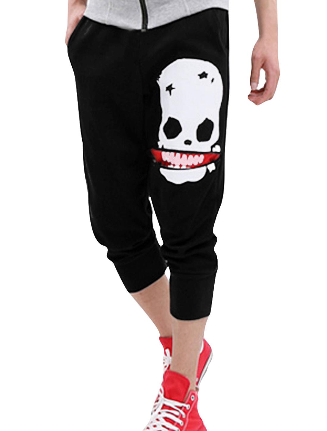 Men NEW Style Elastic Waist Skull Pattern Casual Capris Pants Black W28