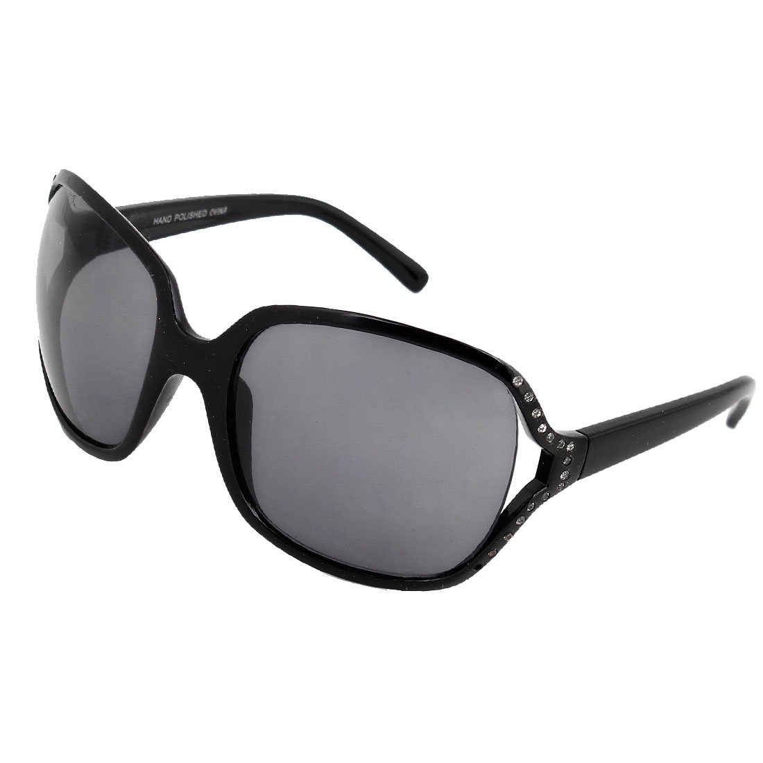 Black Rhinestones Detail Plastic Full Rim Sunglasses Eyeglasses