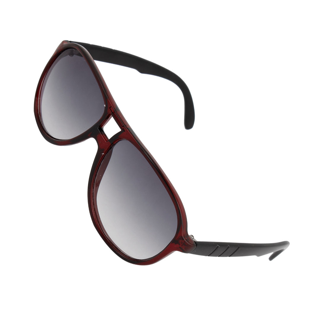 Unisex Raindrop Shape Tinted Lens Double Bridge Glasses Sunglasses Burgundy