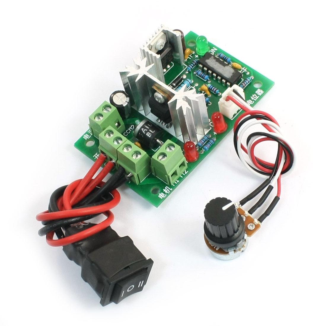 DC Motor Speed Control Switch Reversing 6V-30V 80W 2.5A w Potentiometer