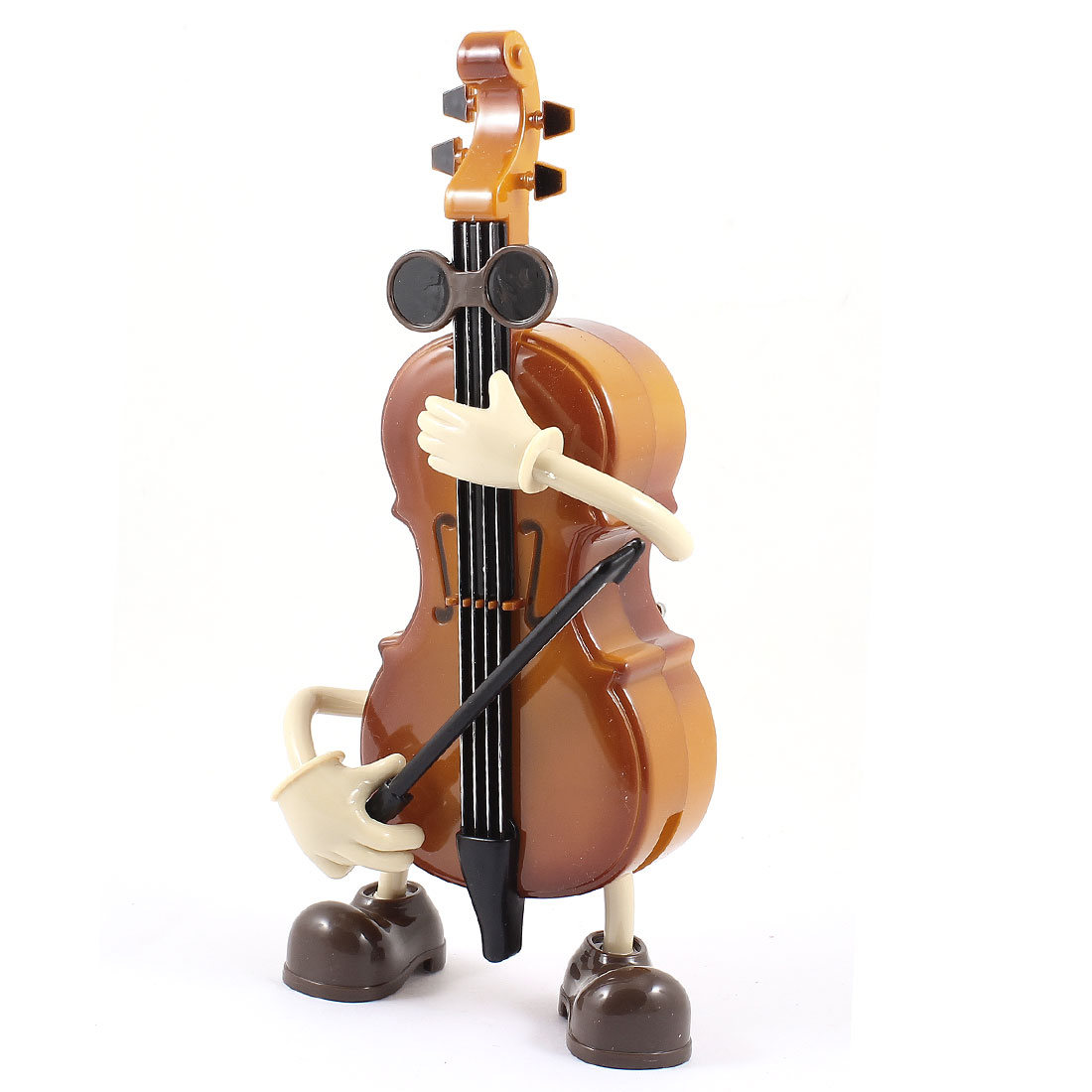 Brown Plastic Violin Playing Design Music Box Decoration