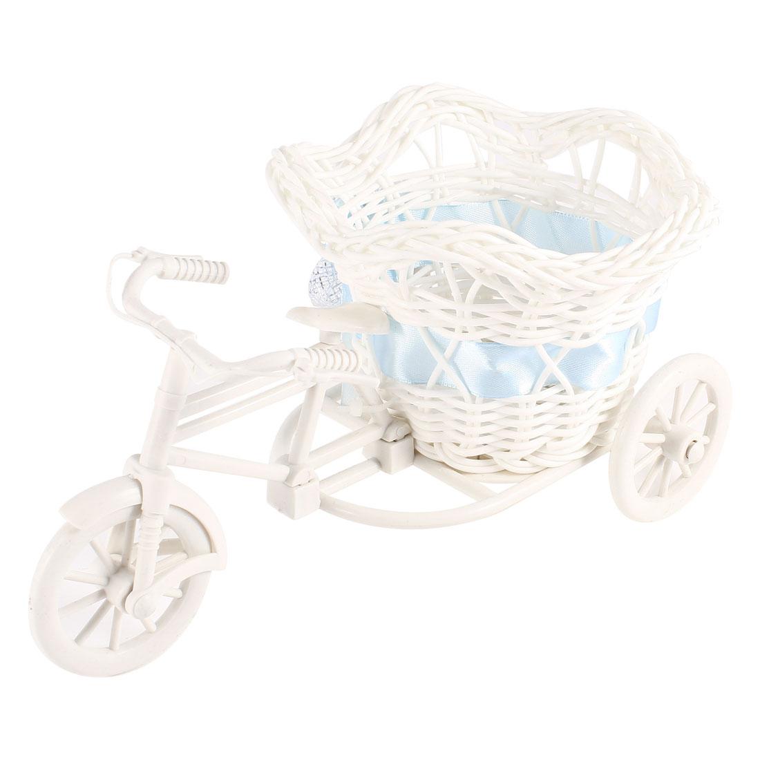 White Plastic Weave Tricycle Design Blue Flower Decor Basket Storage
