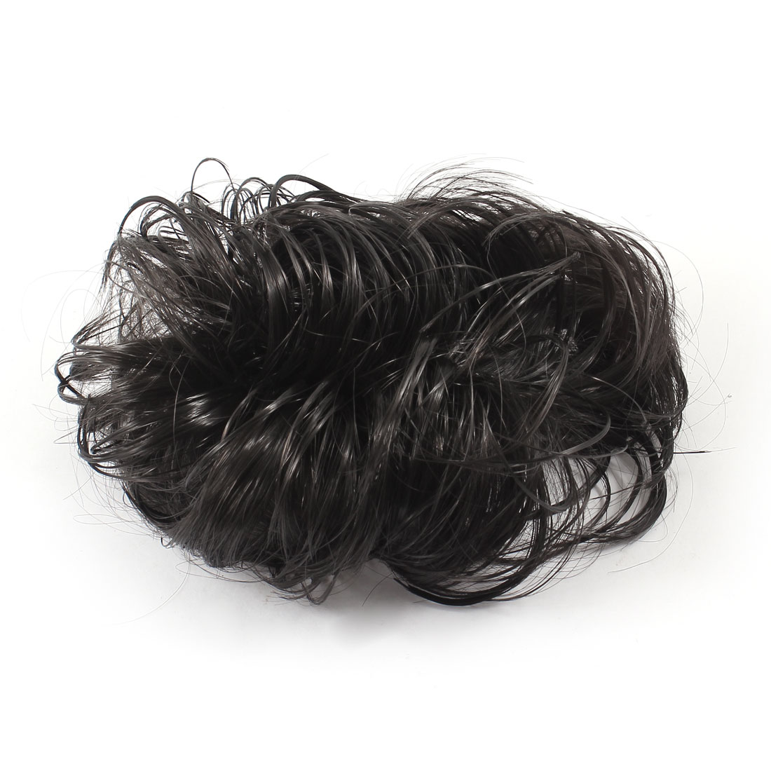 Lady Synthetic Fiber Hairpiece Black Curly Wig Stretch Ponytail Holder Hair Band