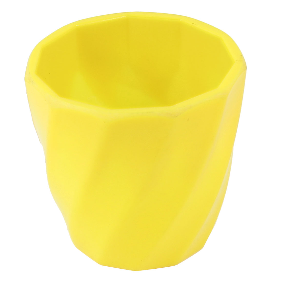 6.5cm High 65mm Dia Yellow Plastic Garden Plants Flowers Pot Holder