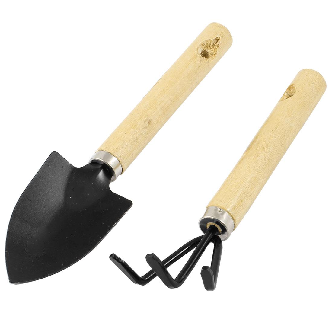 Gardening Horticulture Tools Wooden Grip Metal Rake Shovel 2 in 1 Set