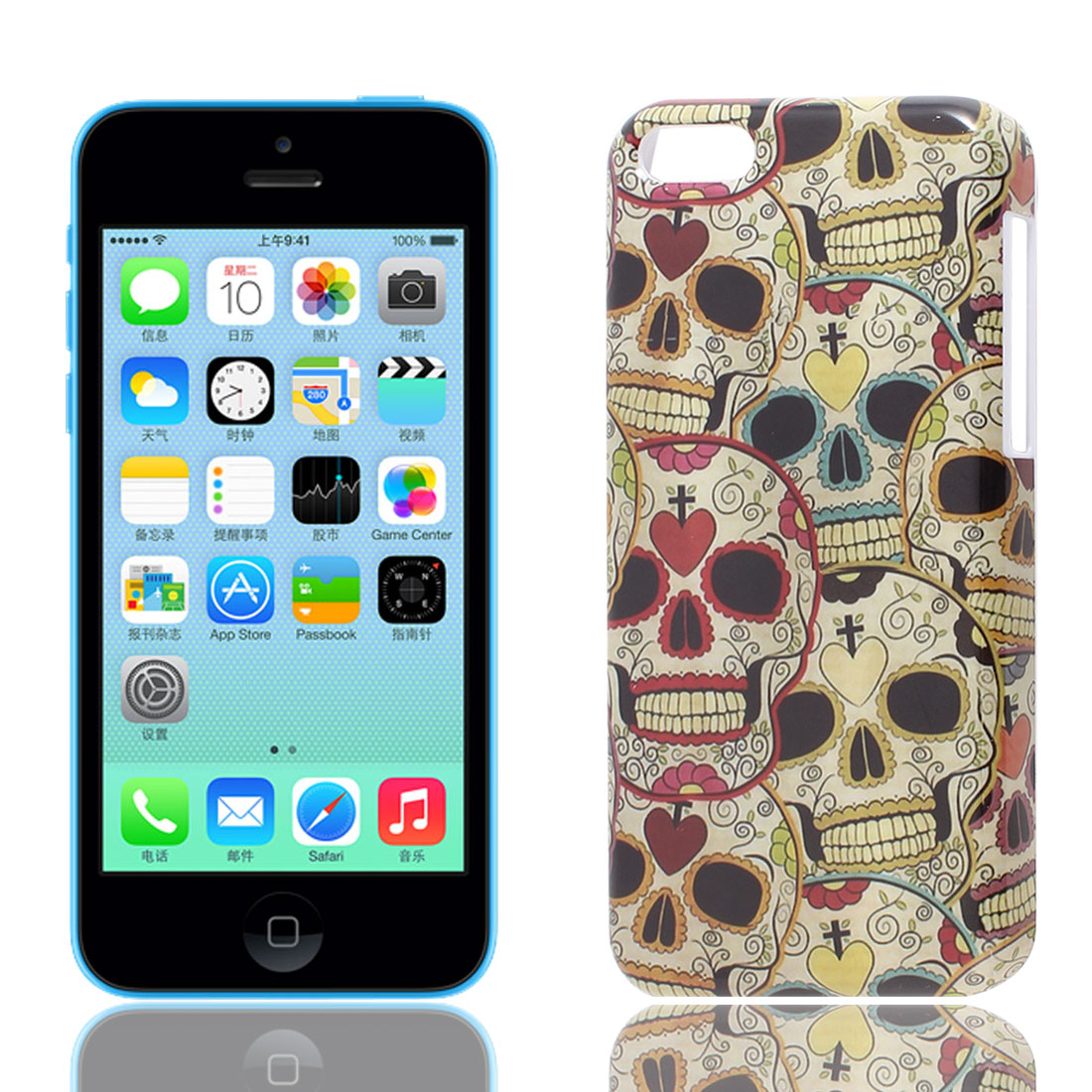 Skull Printed IMD Hard Portector Back Case Cover for Apple iPhone 5C