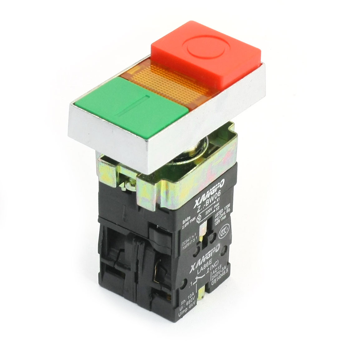 220V Yellow Indicator Light ON/OFF Momentary Push Button Switch