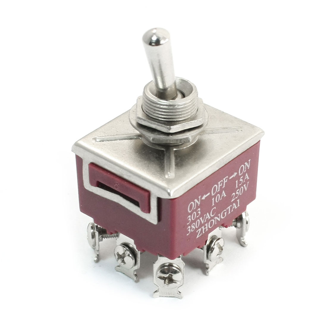 250V 15A 3 Positions ON/OFF/ON 9 Pin 3PDT Self Locking Toggle Switch