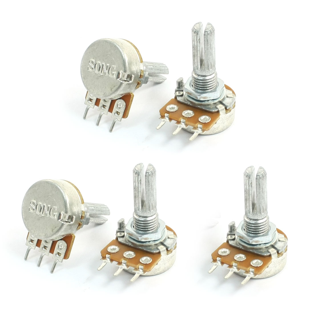 Top Adjustment Single Turn Knurled Shaft 3Pin Potentiometer 10K Ohm 5pcs