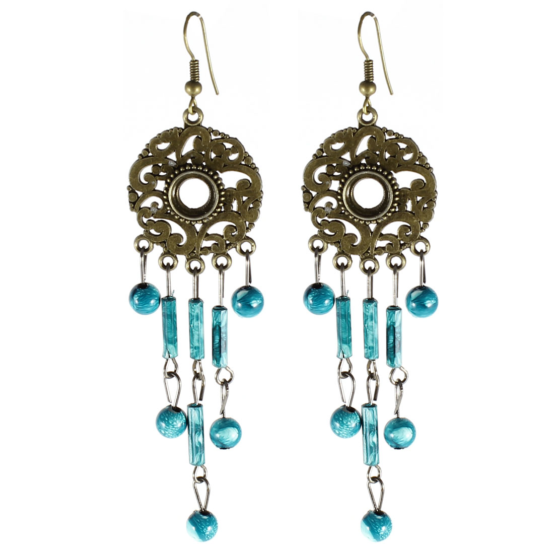 Pair Teal Beads Circle Pendant Hanging Fish Hook Eearrings Eardrop for Women