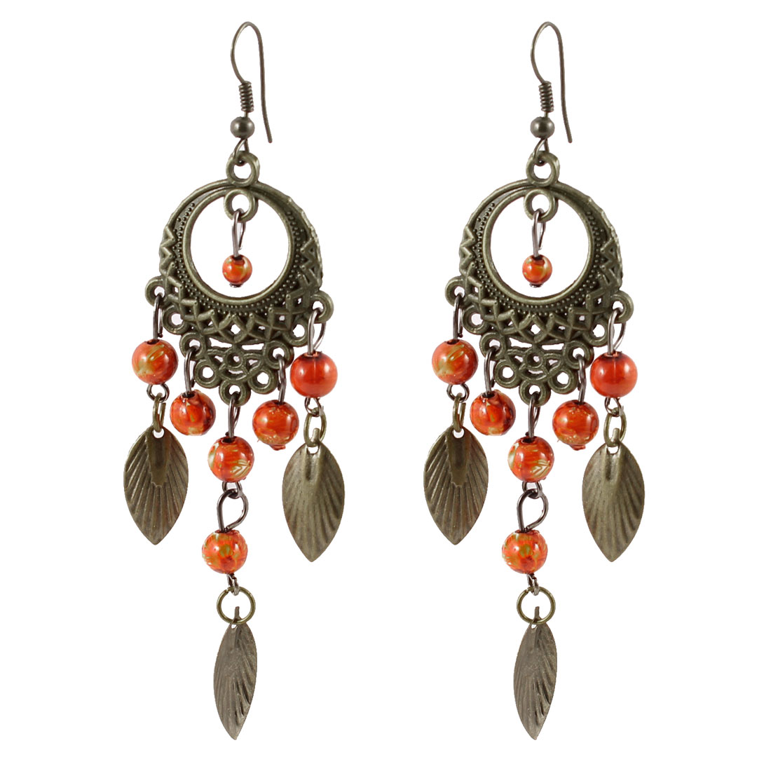 Lady Orange Beads Bronze Tone Leaf Pendant Fish Hook Earrings Pair