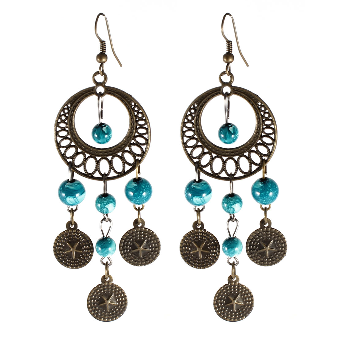 Teal Beads Pendant Dangling Hanging Ear Hook Earrings Eardrops Pair for Women