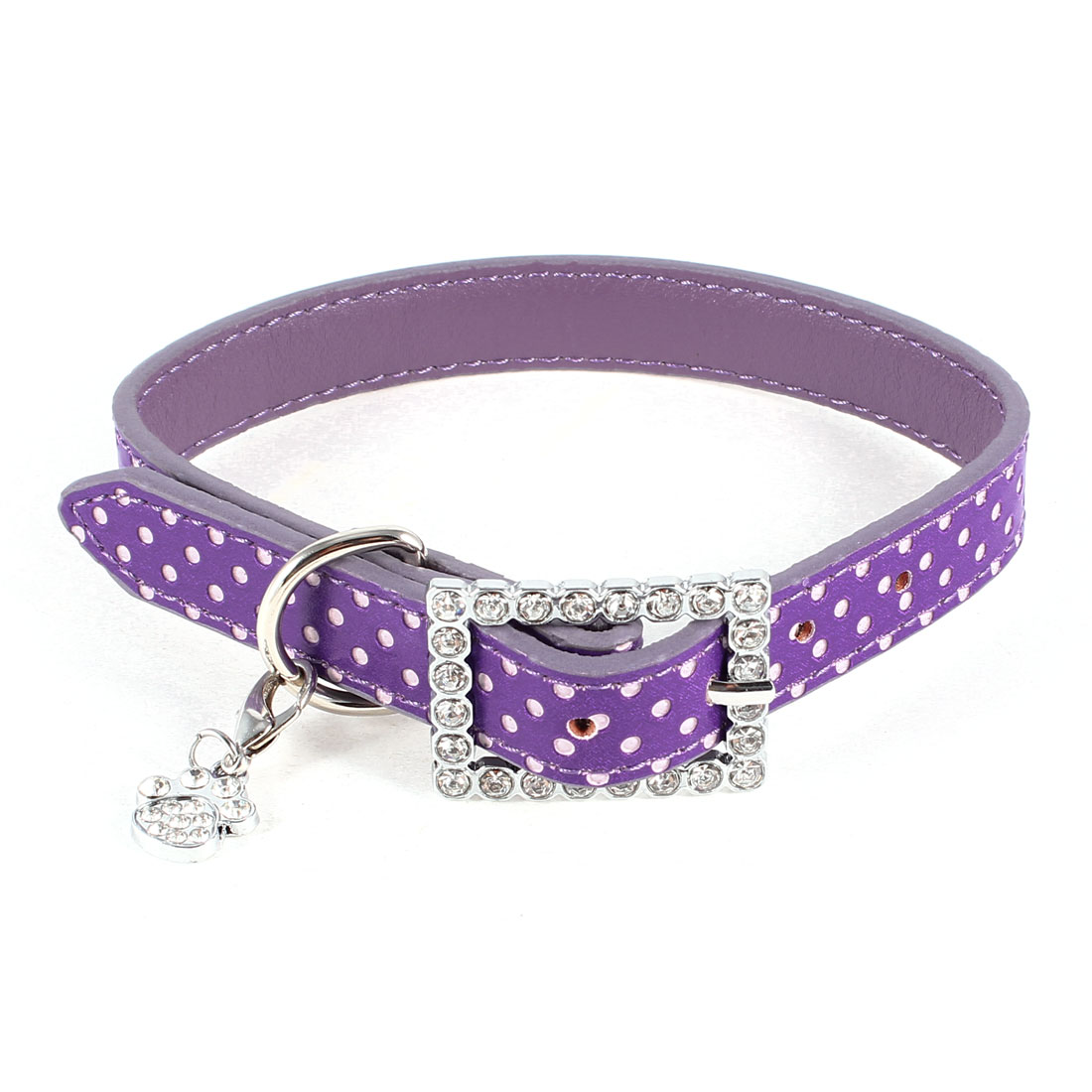 Purple Rhinestone Inlaid Dot Printed Adjustable Pet Dog Collar Necklace 43cm
