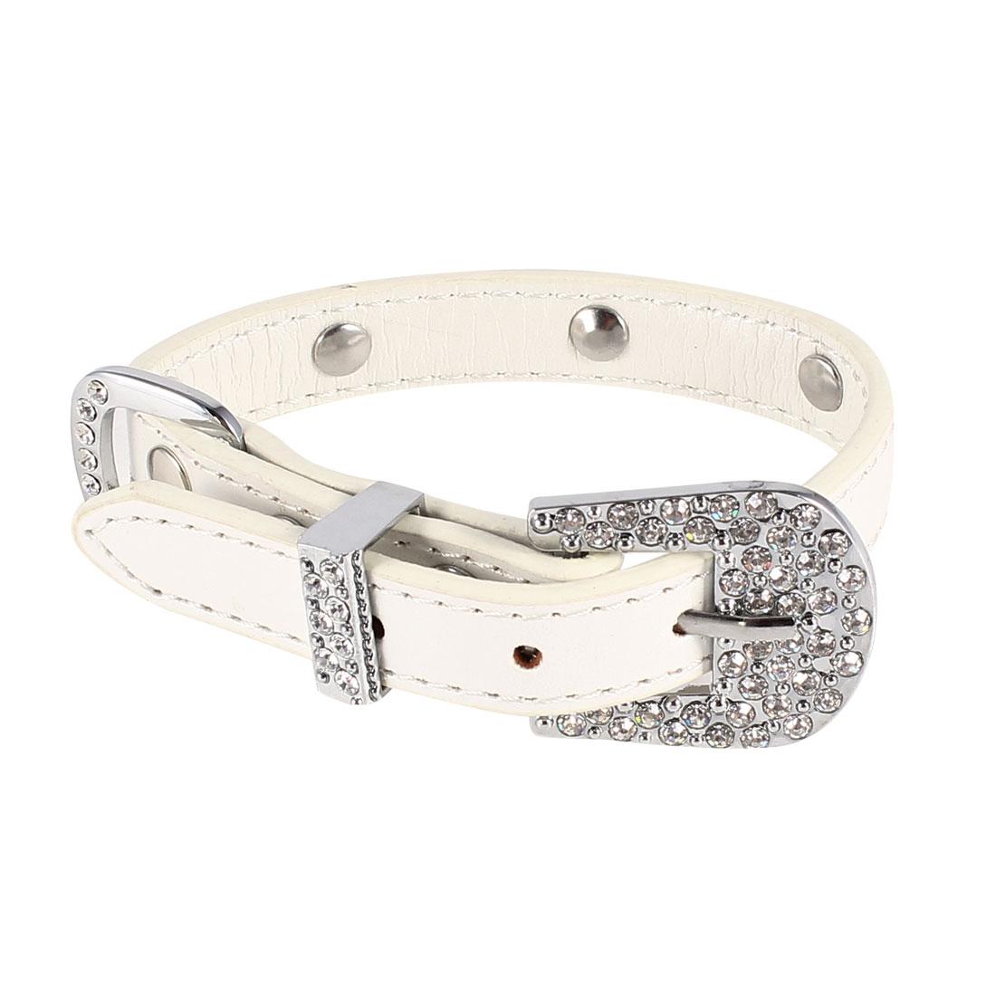 Pet Dog Cat White Rhinestone Detail Single Pin Buckle Collar Rope 31cm Long