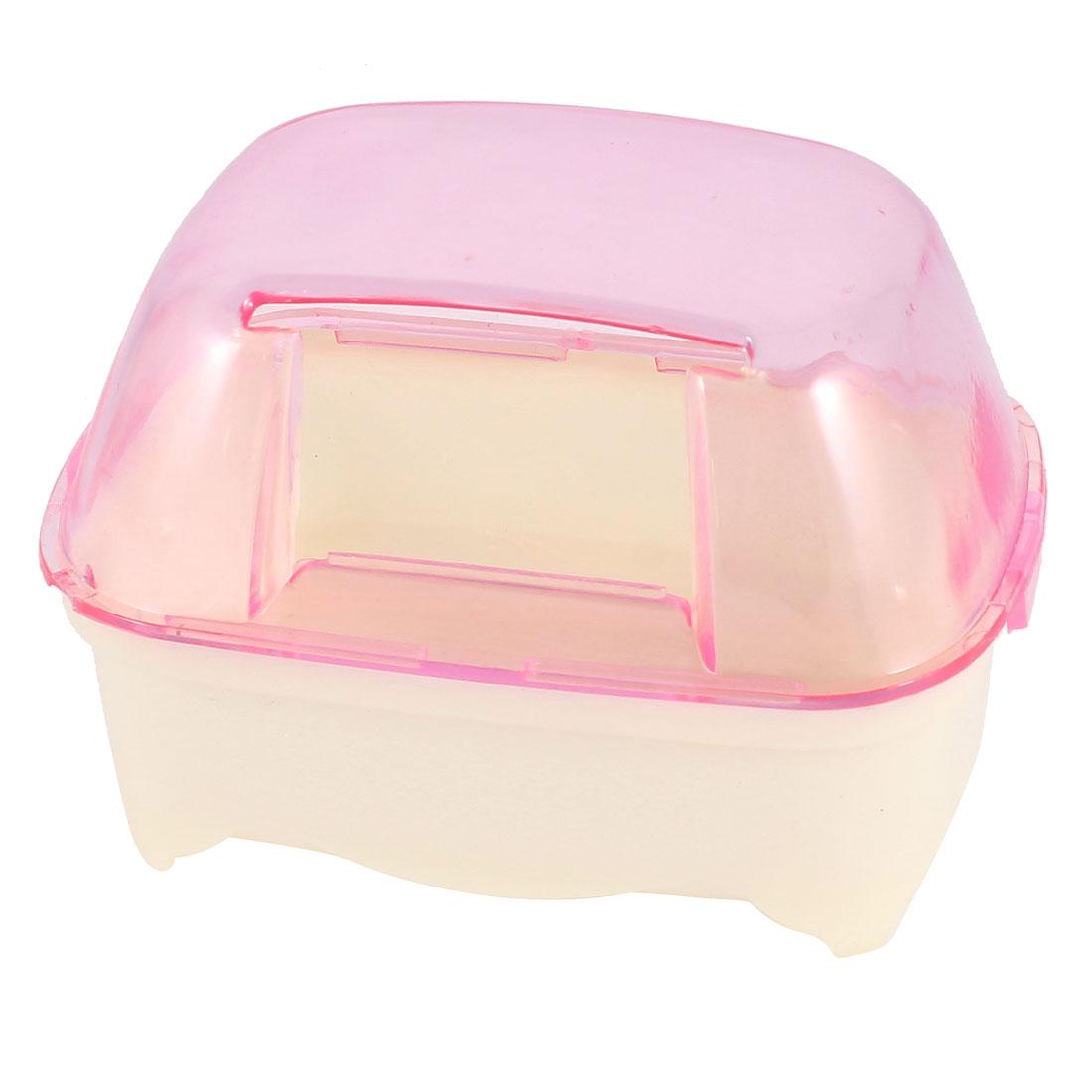 Pet Hamster Bathroom Bathing Sand Room Sauna Cage Clear Pink White