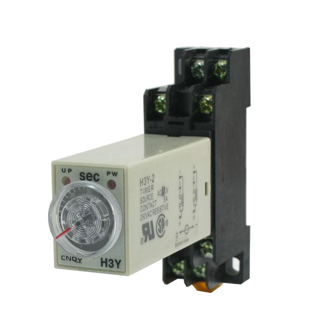 Adjustable Delay Time AC 110V DPDT 0-60 Sec 8-Pin Timer Relay H3Y-2