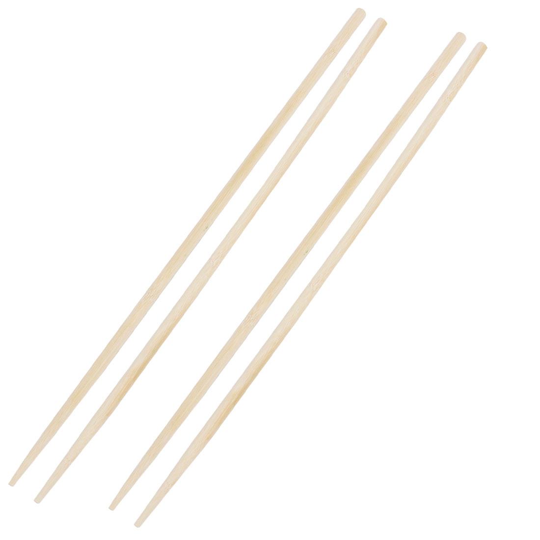 "2 Pairs Beige Wooden Noodles Cooking Chopsticks 45cm 18"" Length"