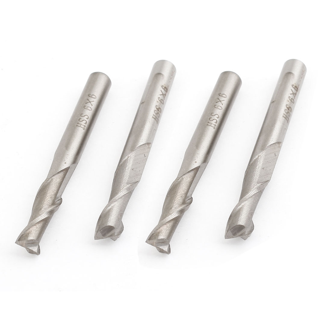4pcs 58mm Length 2 Flutes Straight Shank HSS End Mill Milling Tool 6mm x 6mm