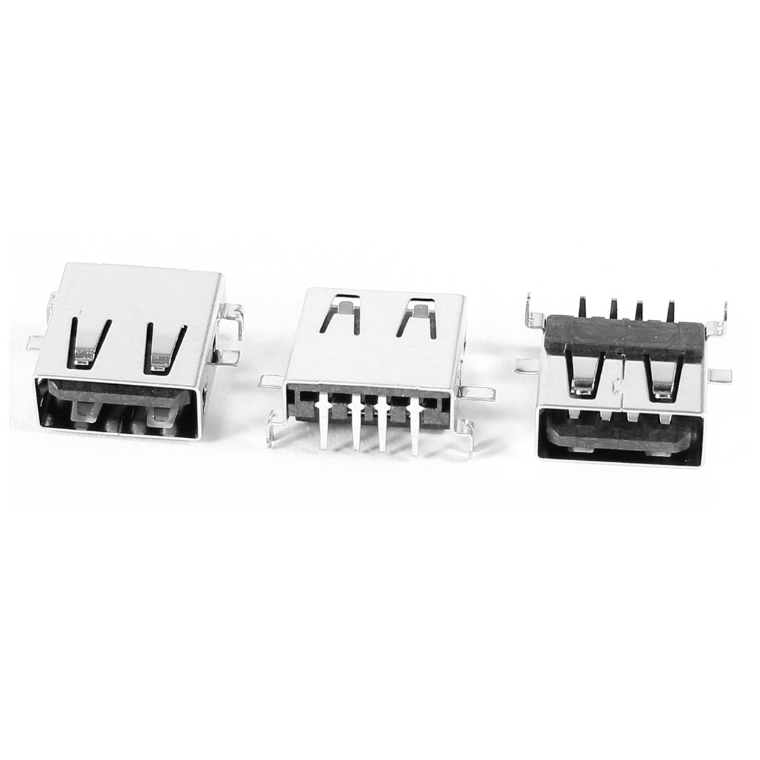 3 Pcs USB Type A Female 4 Pin Right Angle Jack Solder Socket Connector