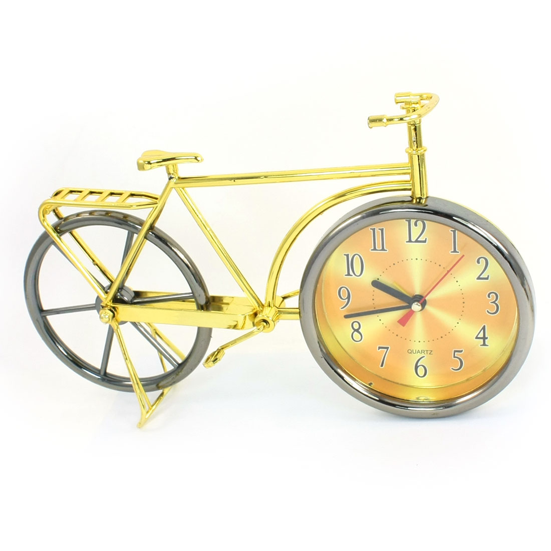 Gold Tone Gray Plastic Arambic Numbers Dial Bicycle Shape Clock Quartz