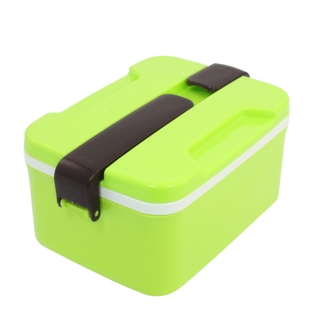 Yellow Green Plastic Rectangle Shaped Food Holder Picnic Lunch Box w Spoon