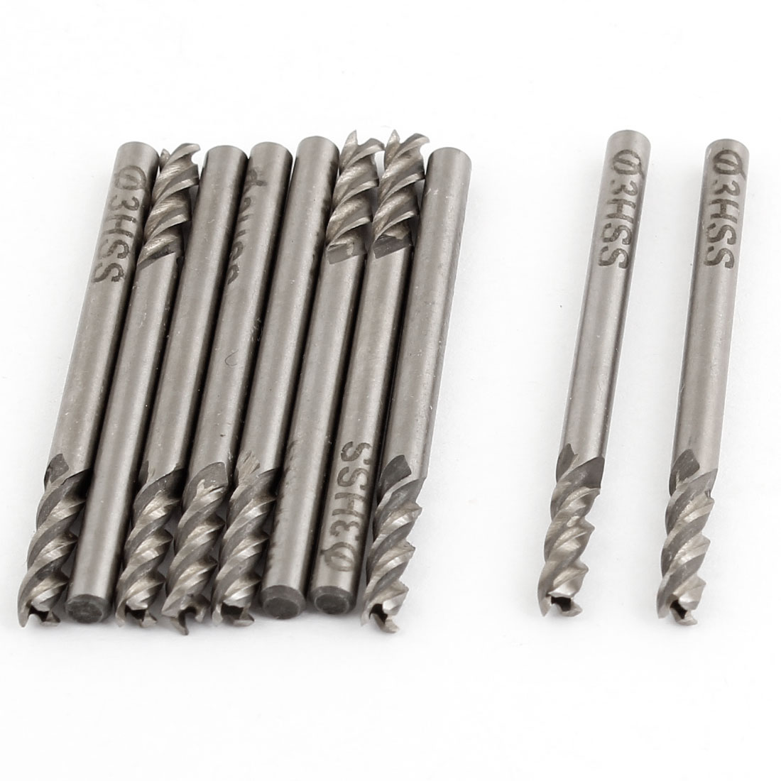 10 Pcs Helical Groove 3 Flutes 3mm Cutting Dia HSS Cutter End Mill