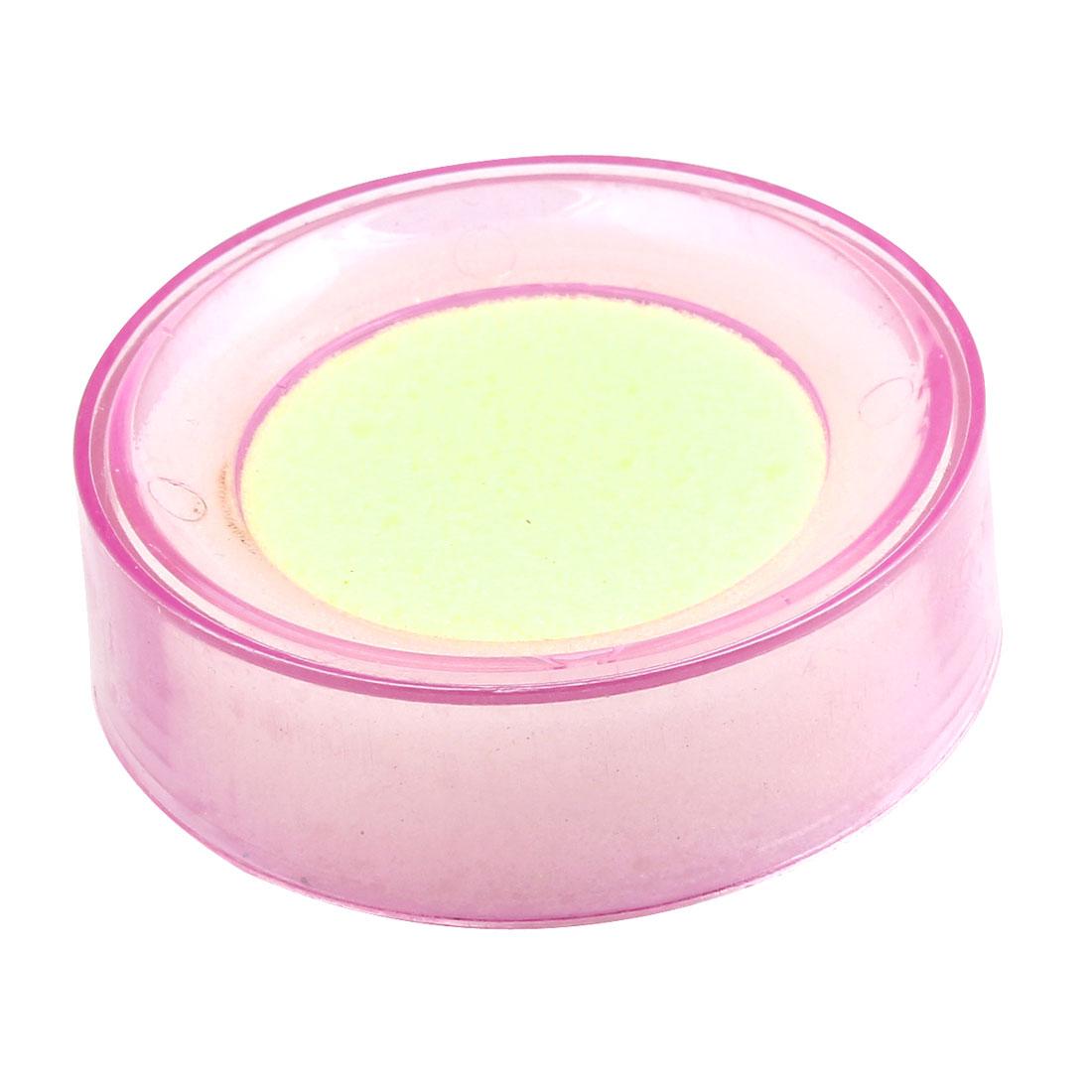 """2 Pcs Clear Pink Plastic Case Finger Wet Sponge 2.7"""" Dia for Bank Cashier"""