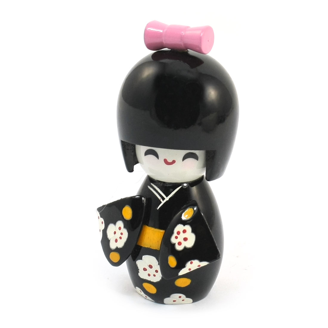 Table Decor Japanese Style Flower Pattern Wooden Craft Doll Black