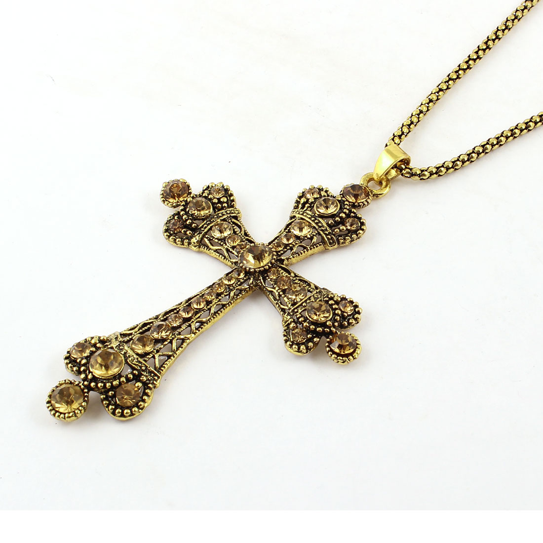 Ladies Faux Rhinestone Inlay Gold Tone Metal Cross Pendant Sweater Chain Necklace