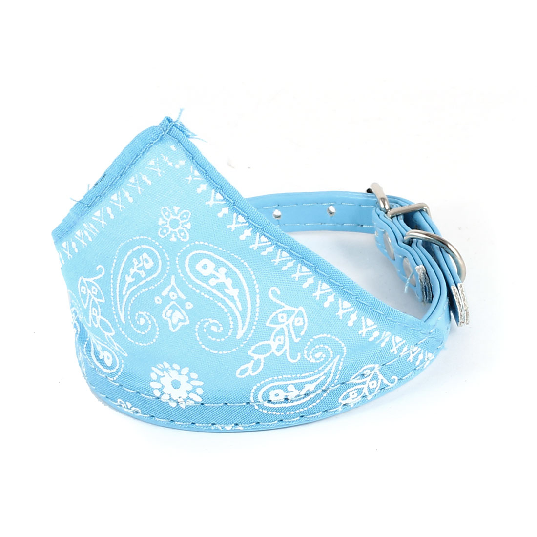 Single Prong Buckle Pet Dog Doggy Adjustable Scarf Bandana Collar Blue