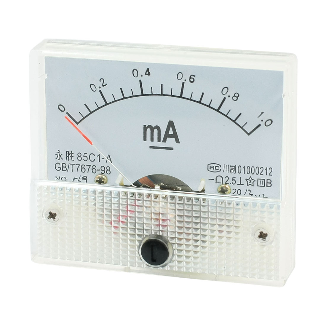 64mm x 56mm Rectangular DC 0-1mA Analog Panel Meter Ammeter 85C1-A